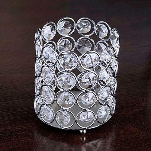 Mikash 4 Wide Silver Votive Tealight Crystal Beaded Candle Holders Wedding Party | Model WDDNGDCRTN - 12702 | 15 Pieces