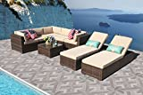 PATIOROMA Outdoor Furniture Sectional Sofa Set (6-Piece Set) All-Weather Brown Wicker with Beige Seat Cushions &Glass Coffee Table & 2 Chaise Lounge Chairs| Backyard, Pool| Steel Frame|Brown PE Wicker Review