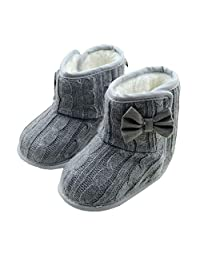 DZT1968 Baby Girl Soft Anti Slip Sole Knit Cotton Bowknot Shoes Snow Boots Socks