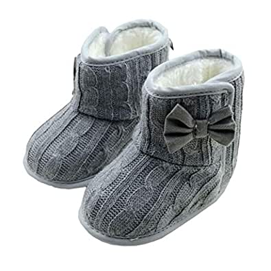 DZT1968 Baby Girl Soft Anti Slip Sole Knit Cotton Bowknot Shoes Snow Boots Socks (0~6 Months, Gray)