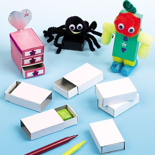 Baker Ross Craft Matchboxes 2 x 1.4 inches (52mm x 35mm) for Children to Decorate and use for Crafts or Gifts (Pack of 30)