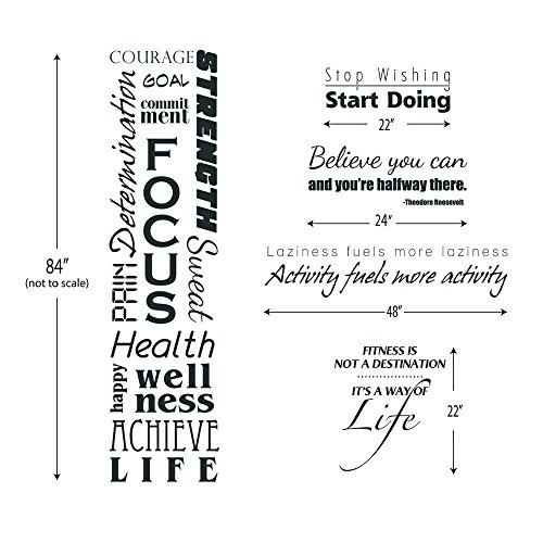 Motivational Inspirational Fitness Stickers - 5 of Our Best Selling Wall Decals Bundled Together At a Huge Savings!