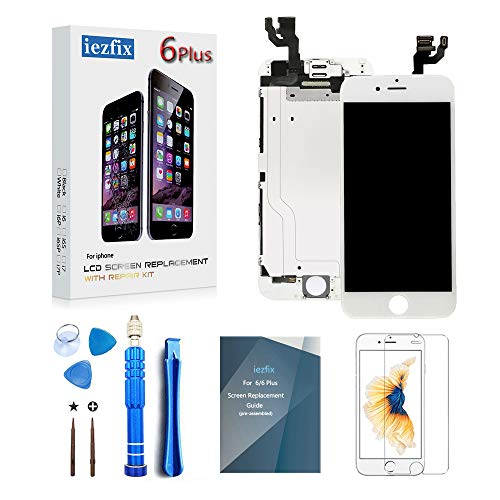 (for iPhone 6 Plus Screen Replacement A1522 A1524 LCD Screen Digitizer Display Full Assembly Kit with Front Camera + Earpiece & Sensor + Advanced Repair Tools + Glass Screen Protector (6Plus White))