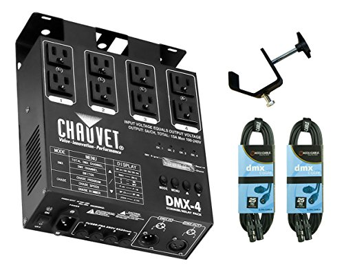 Chauvet DMX-4 DMX4 4-Channel Light Dimmer Relay Pack Controller + Cables + Clamp - Chauvet Stage Dimmer