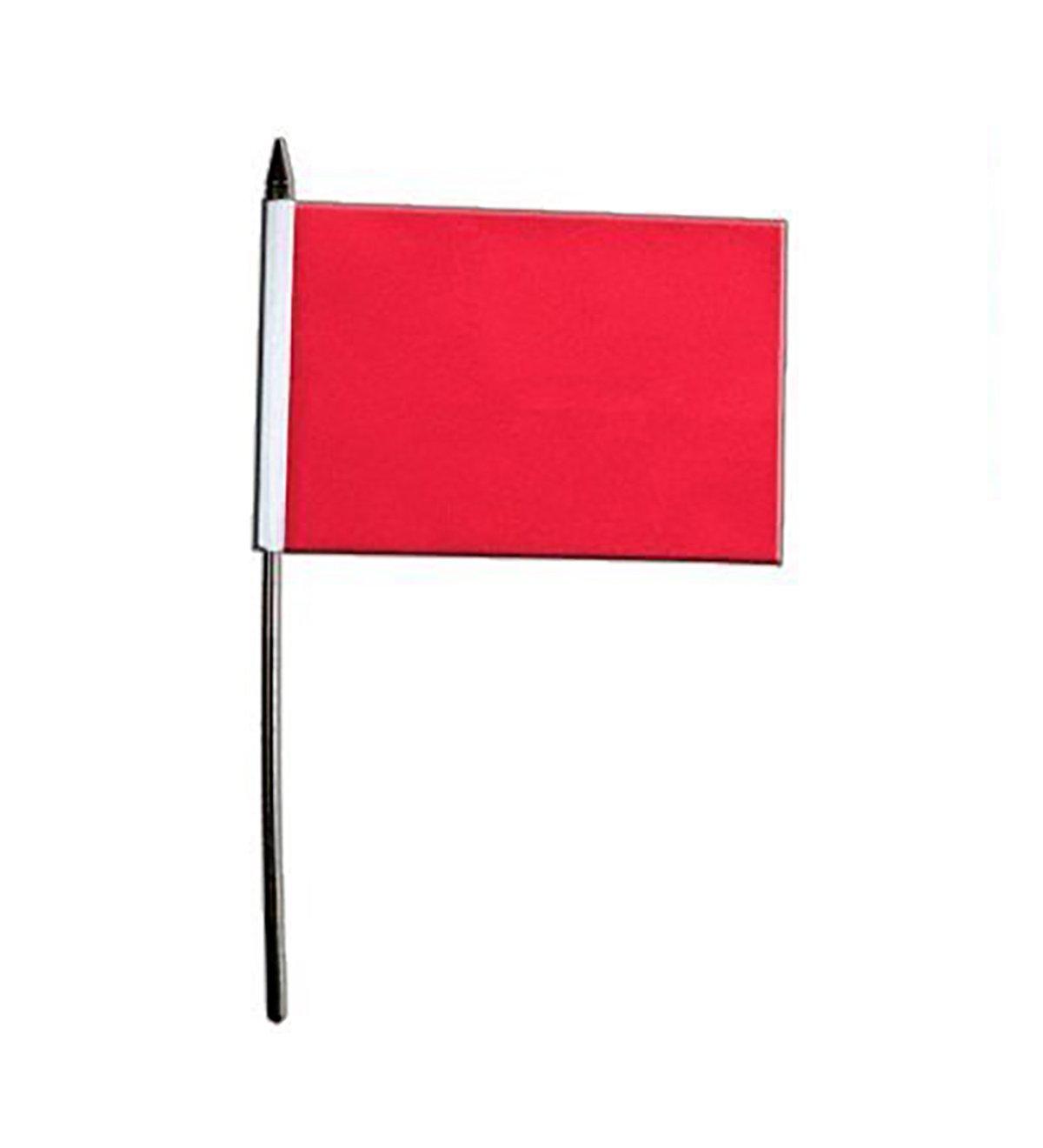 "PLAIN RED Handwaving Flag 9/"" x 6/"" Polyester Flag 12/"" Wooden Pole"