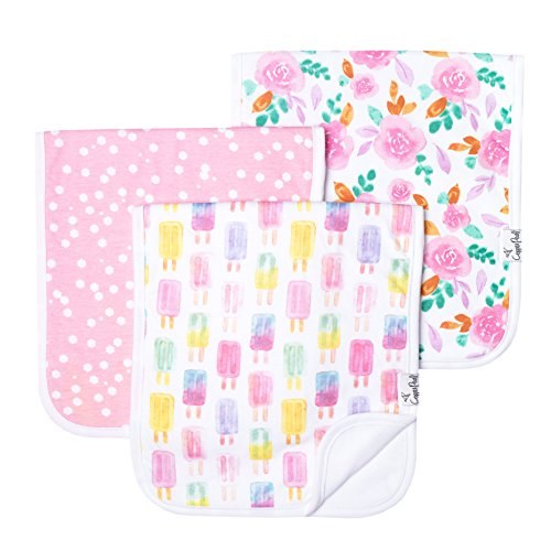 Baby Burp Cloth Large 21x10 Size Premium Absorbent Triple Layer 3 Pack Gift Set Summer by Copper Pearl