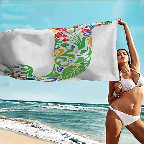 Antonia Reed Quality Beach Towel Letter J,Initial Capital J with Tropical Nature Elements Leaves and Flowers Abstract Swirls,Multicolor,Bathroom Body Shower Towel Bath Wrap 32