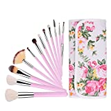 UNIMEIX Makeup Brushes 12 Pieces Professional Makeup Brush Set with Floral Case Face Eyeliner Blush Contour Foundation Cosmetic Brushes for Powder Liquid Cream (Pink)