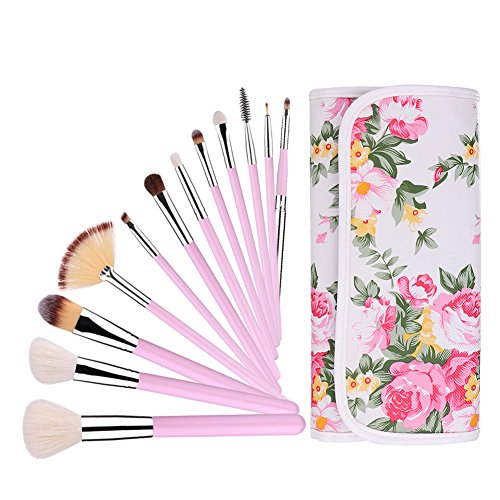 UNIMEIX Makeup Brushes 12 Pieces Professional Makeup Brush Set with Floral Case Face Eyeliner Blush Contour Foundation Cosmetic Brushes for Powder Liquid Cream (Pink) Cosmetic Case Set