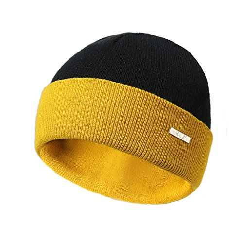 SUKEQ Beanie for Women Men, Winter Warm Double Color Knitting Hats Wool Baggy Slouchy Ski Hat Cuffed Plain Skull Cap (Yellow)