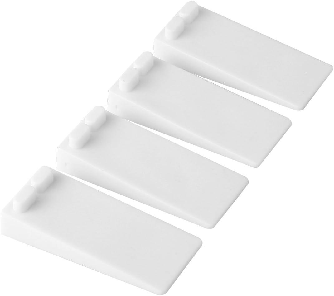 Door Stop Rubber, BearMoo Flexible Door Stop Wedge 4-Pack - Smart Stackable Slip-Resistant Design - Door Stops Work Well on All Surfaces (White)
