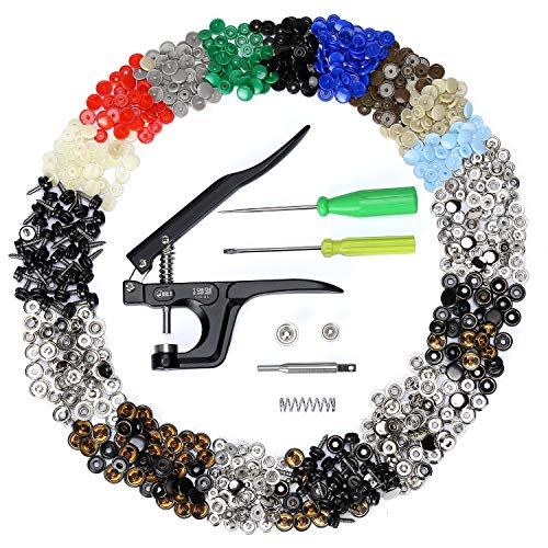 Plastic Buttons Bag - 10L0L 210 Sets Snap Fasteners Kit, Plastic Snaps for T3/T5/T8 Button, Stainless Steel Screw Marine Grade with Heavy-Duty Snap Tool for Replacing Snaps, Repairing Boat Covers, Canvas, Tarps