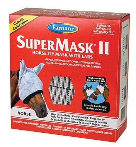 Equine Fly Masks - Farnam SuperMask II Classic Horse Fly Mask with Ears, Horse size, Assorted