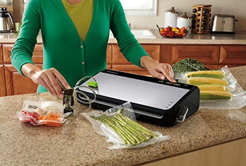 FoodSaver FM2435-ECR Vacuum Sealing System with Bonus Handheld Sealer and Starter Kit, Silver
