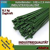 1000 Stk Kabelbinder grün 100 x 2,5 mm EUROPA-/ INDUSTRIEQUALITÄT