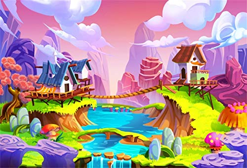(Laeacco Fairytale Story Scenic Backdrop Vinyl 7x5ft Cartoon Bridges Across The River Small Houses Soaring Pinnacle Clouds Stream Scenic Illustration Background Baby Birthday Party Banner Cake Smash)