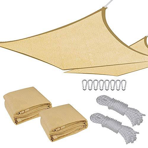 2pc 18x18' Square Sun Shade Sail Patio Deck Beach Garden Outdoor Canopy Cover UV Blocking (Desert Sand)