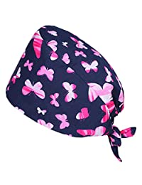 Valiclud Surgical Scrub Cap Cotton Adjustable Scrub Hat Medical Doctor Nurse Cap Bouffant for Women Men Butterfly Pattern