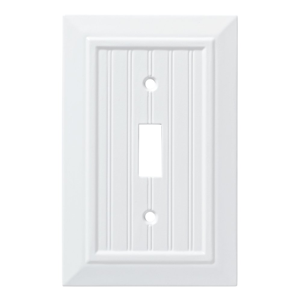Franklin Brass W35265-PW-C Classic Beadboard Single Switch Wall Plate/Switch Plate/Cover, Pure White