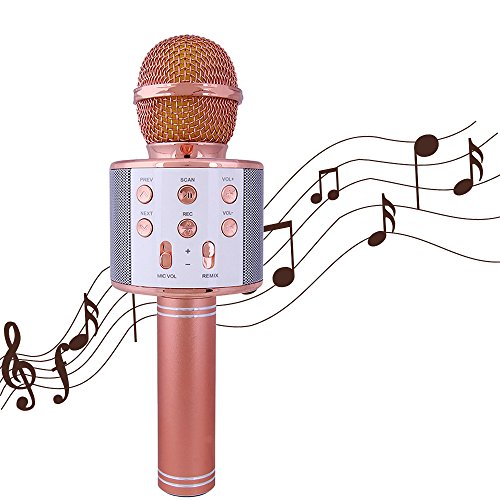 BSOD Wireless Karaoke Microphone Bluetooth with Hifi Speaker Portable Karaoke Machines Handheld, Compatible with iPhone, iPad, Samsung Galaxy, Android WS-858 (Rose Gold)