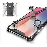 apple iphone X アルミフレーム 4コーナーガード クロスフレーム かっこいい アイフォンX メタルケース スマホのアルミフレームー製耐衝撃プロテクター スマホリング おすすめ おしゃれ スマホケース (シルバー)