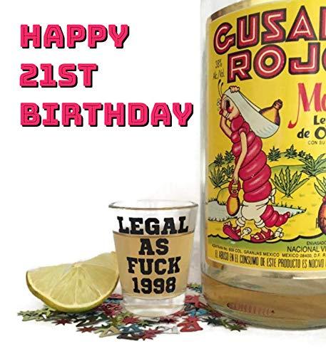21st Birthday Shot Glass-1999 Birthday Gifts/Shot Glass-21 Birthday Party Supplies (clear-black-1999)