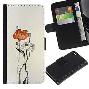 LASTONE PHONE CASE / Lujo Billetera de Cuero Caso del tirón Titular de la tarjeta Flip Carcasa Funda para Apple Iphone 4 / 4S / poppy flower paper watercolor art