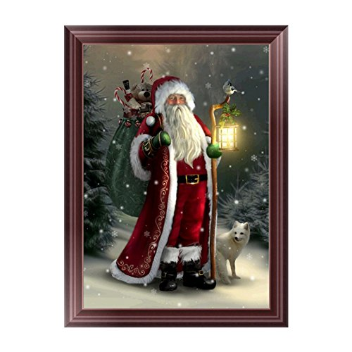 Adarl 5D DIY Diamond Painting Rhinestone Pictures Of Crystals Embroidery Kits Arts, Crafts & Sewing Cross Stitch(Santa Claus Gift Time-3)