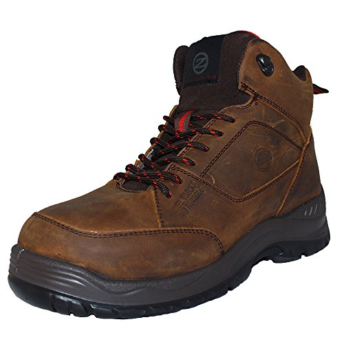 Hiker Style Safety Boot - Zephyr ZX74 S1P SRC Brown Nubuck Wide Fit Steel Toe Cap Hiker Style Safety Boots (US 10)