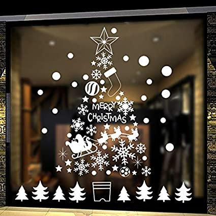 Christmas Window Decals.Amazon Com 190 White Snowflakes Window Clings Stickers For