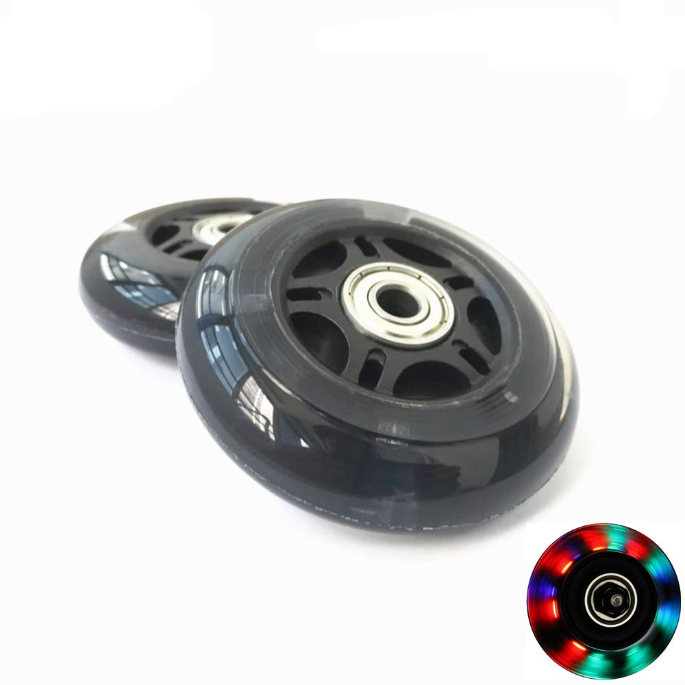 AOWISH 76mm Light Up Inline Skate/Rollerblade Replacement Wheels (pair) with ABEC-7 Bearings for Ripstik Wave Board, Inline Roller Skate, Rollerblade, Caster Board or Luggage Suitcase Color Black