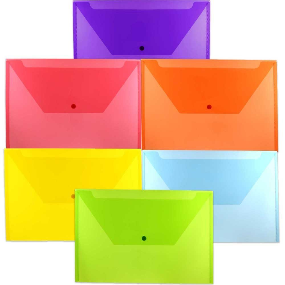 JAM Paper Plastic Envelope with Snap Closure - Legal Booklet - 9 3/4'' x 14 1/2'' - Assorted Colors - 6 Color Envelopes