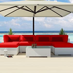 Uduka Outdoor Sectional Patio Furniture White Wicker Sofa Set Diani Red All Weather Couch