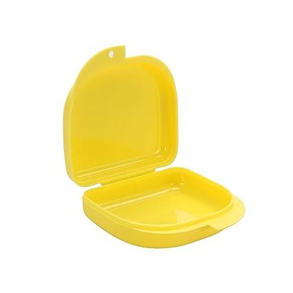 Caja para Ortodoncia Protesis Dentales Dentadura Postiza ROSENICE 3 Unidades Estuche para Retenedores Dentales Amarillo