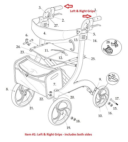 Left & Right Hand Grips for Drive Nitro Rollator, Model 10266 by Drive (Image #1)