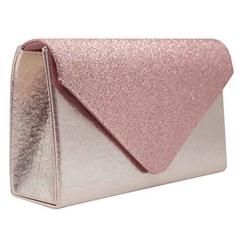 Bag Gold Cckuu Ladies Glitter Clutch Prom Pink Women Wedding Evening Bridal Handbag Sparkle qPSvPxga