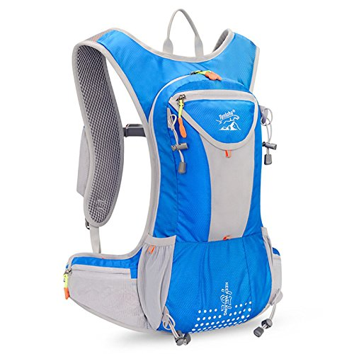 Nylon Hydration Pack - Eleoption Waterproof Hydration Backpack 12L Fits Men and Women for Running Hiking Cycling Climbing With Nylon Outdoor Sports Backpack Shoulder Belt Bag (Blue)