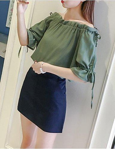 ligaosheng Mujer Activo Noche Tallas Grandes Volante Blusa, Escote Barco Corte Ancho Un Color, XL: Amazon.es: Deportes y aire libre