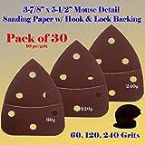 30 Assorted Mouse Detail Sander Sandpaper Sanding Paper Hook & Loop Assorted 60 120 240 Grits 5.5