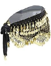 FITYLE Glitter Gold Coins Belly Dance Dancer Costume Hip Scarf Belt Waist Wrap Skirt