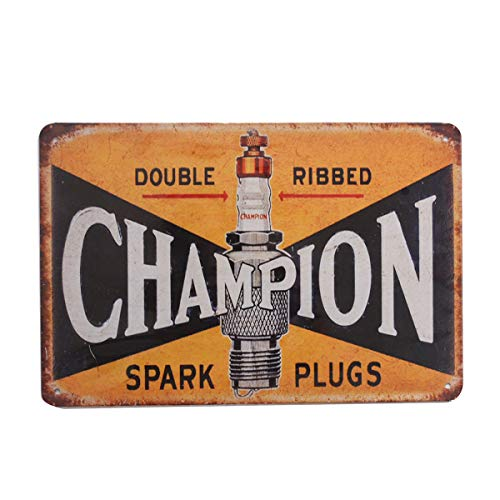 Metal Advertisement (Retro Vintage Tin Metal Sign, Champion Double Ribbed Spark Plugs, Wall Decor for Home Garage Bar Man Cave, 8x12/20x30cm)