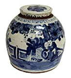 Vintage Style Blue and White Porcelain People Motif Ginger Jar 11''