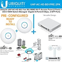 Ubiquiti UAP-AC-HD (x2) 802.11ac UniFi AP PRECONFIG + Switch PoE+ Gigabit 8Port