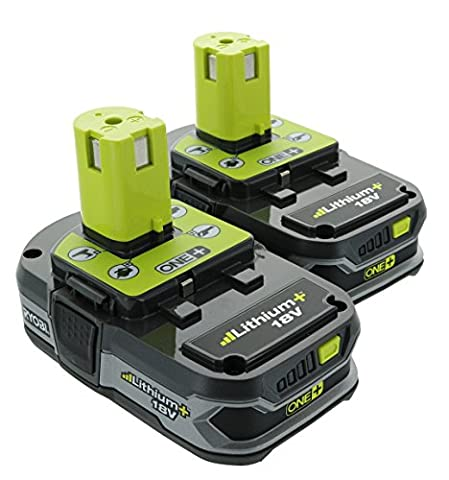 Ryobi P107 One+ 18 Volt Compact Lithium Ion 1.5 Ah Battery Multi Pack (2 Batteries) (Ryobi P108 Charger)