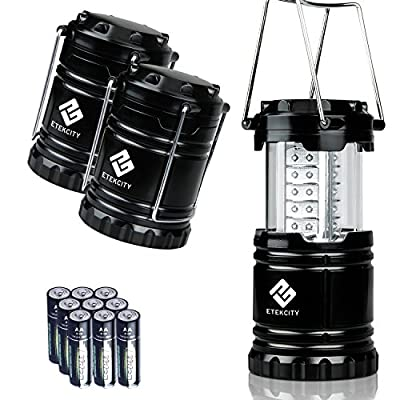 Etekcity 3 Pack Portable Outdoor LED Lantern with 9 AA Batteries - Camping Friendly (Black, Collapsible) from Etekcity