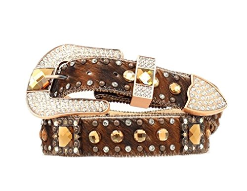Nocona Women's Hair On Hide Leopard Design Belt, Light Brown, XL