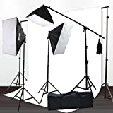 ePhoto H9004SB-1012W Muslin Support Boom Hair light Stand with 3 Softbox Photography Video Lighting Kit - 10x12 (White)