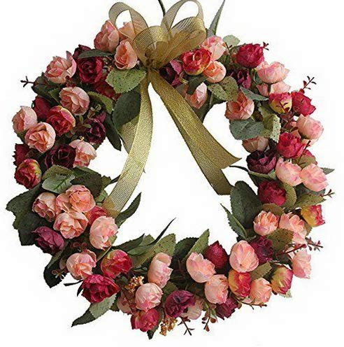 (Mikash Rose Wreath Artificial Flower Blossom Garland Floral Wreaths | Model WRTH - 738)