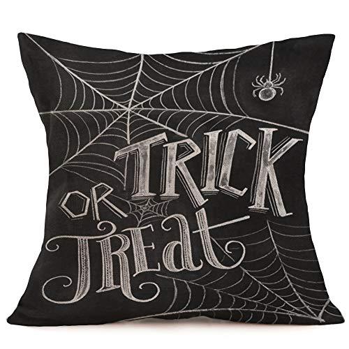 - Royalours Throw Pillow Covers Bat Spider Web Cushion Cover Cotton Linen Halloween Trick or Treat Throw Pillow Case for Home Sofa Car Bedroom Decorative Pillowcase 18