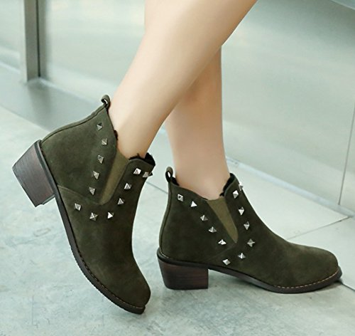 Aisun Womens Casual Studded Round Toe Pull On Chelsea Boots Elastic Block Mid Heel Ankle Booties With Studs Olive Jssqgeyc